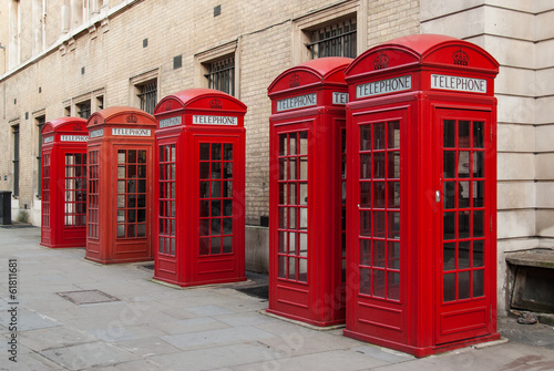 Traditional red telephone boxes in London, UK