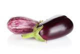 Two ripe eggplants