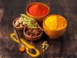 Spices curry, paprika, nutmeg, star anise, cardamom. Spice.