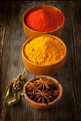 Spices curry, paprika, bay leaf and star anise