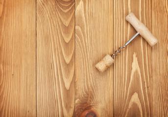 Corkscrew and wine cork