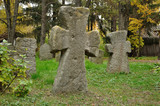 Old stone crosses on a cemetery