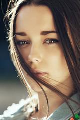 Beautiful sexy close-up portrait of beautiful girl
