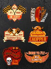 Motorcycle bike badges set