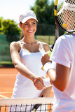 handshaking at the tennis court after a match