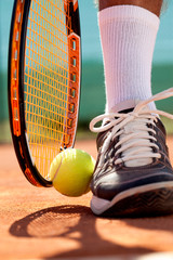 Detail of a tennis player leg