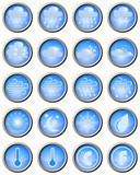 Set of weather icons on blue buttons with metal edging