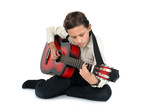 young guitar player learning on a white background