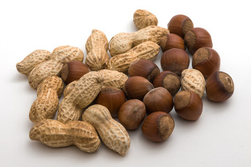 Dark and light nuts on a white background