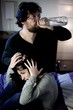 Crazy drunk husband abusing of young wife