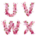 Spring alphabet with cherry flowers UVWX