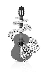Music notes with guitar player