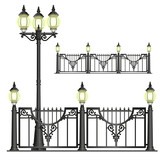 Vector shod street fence with lanterns - isolated