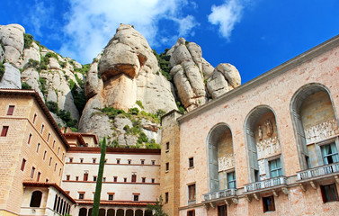 View of Montserrat Monastery. Beautiful Benedictine Abbey