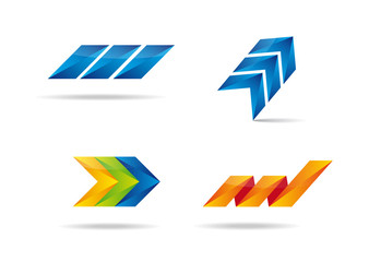 Colorful set with four logotypes.