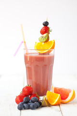 Fresh organic fruit smoothie - shallow dof