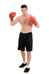 male boxer with red gloves