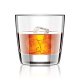 Glass of whiskey vector illustration
