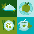 Vector organic food concepts in flat style