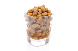 salted soybeans isolate on white background