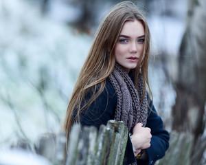 beautiful fashionable woman in winter