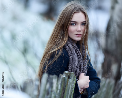 beautiful fashionable woman in winter