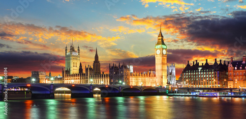 Fototapeta Houses of parliament - Big ben, London, UK