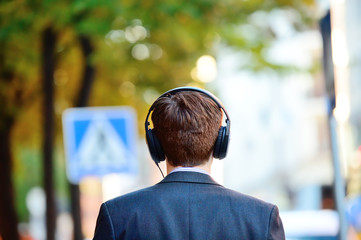 Head in silhouette with headphones
