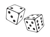 Vector illustration of  dice on the white background