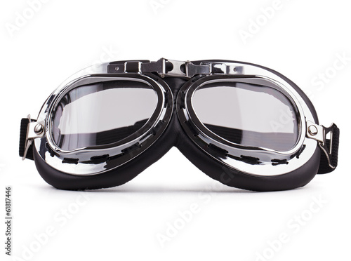 Motorcycle safety glasses on white background