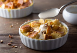 Bread pudding with cream sauce