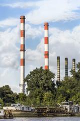 Old Dredger Anchored At New Belgrade Power Plant Dock On Sava Ri