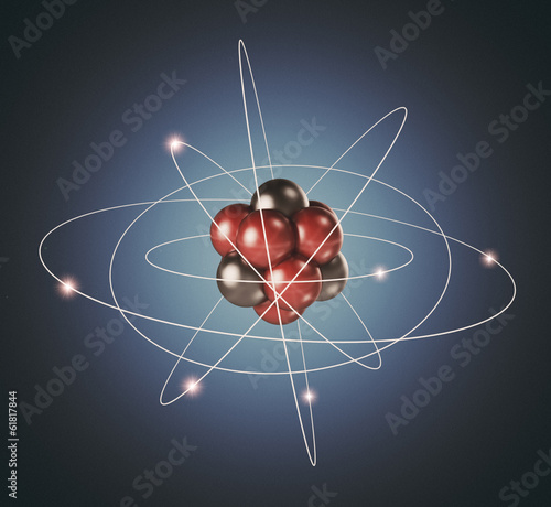 Atom. Elementary particle. 3D Background of nuclear physics