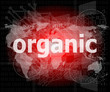 Marketing concept: words organic marketing on digital screen