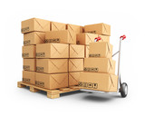 Hand truck with cardboard boxes. 3D Icon isolated on white