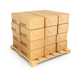 Cardboard boxes on palette. Deliver concept. 3D Icon isolated