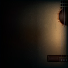 abstract grunge music background with guitar on black