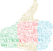 thumbs up symbol, text keywords on social media