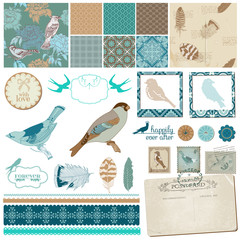 Scrapbook Design Set - Vintage Birds and Feathers - in vector