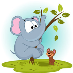elephant and mouse - vector illustration