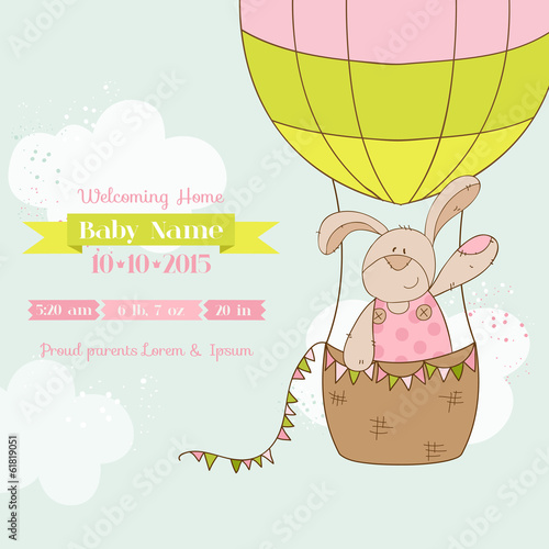 Baby Shower or Arrival Card - Baby Bunny with Air Balloon