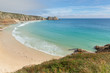 Porthcurno beach and coast Cornwall England