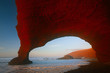 Legzira stone arches in sunset lights, Atlantic Ocean, Morocco,