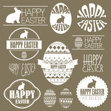 Happy easter vector set: design elements with easter eggs easter
