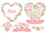 Happy mothers day, floral hearts, vector set