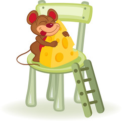 mouse with cheese on a chair - vector illustration