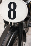 Old motorcycle front with number 8
