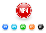 mp4 icon vector set