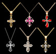 set gold cross pendant with gems