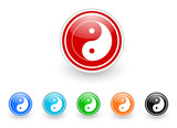 ying yang icon vector set
